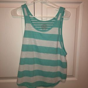 teal and white tank-top